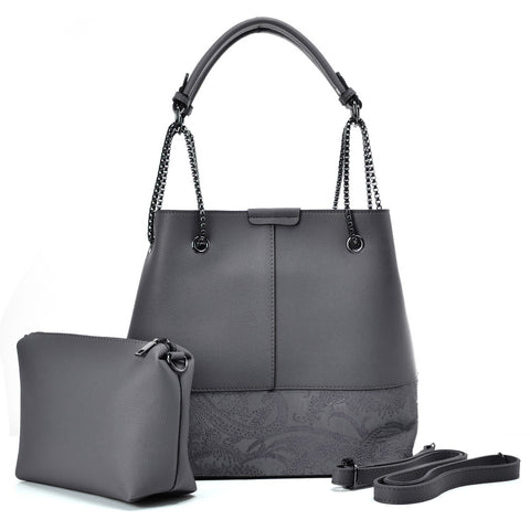 VK5603 GREY - Solid Color Set Bag With Symmetrical Design And Special Handles