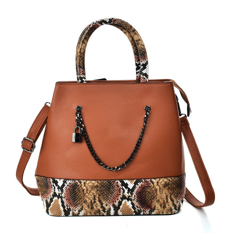 VK5605 BROWN - Simple Tote Bag With Chain And Lock Decoration