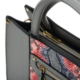 VK5606 GREY - Simple Tote Bag With Snakeskin Decoration