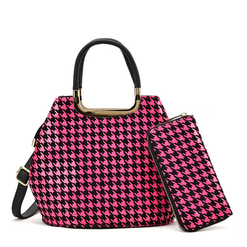 VK8888-1 L - Shell Set Bag With Houndstooth Design