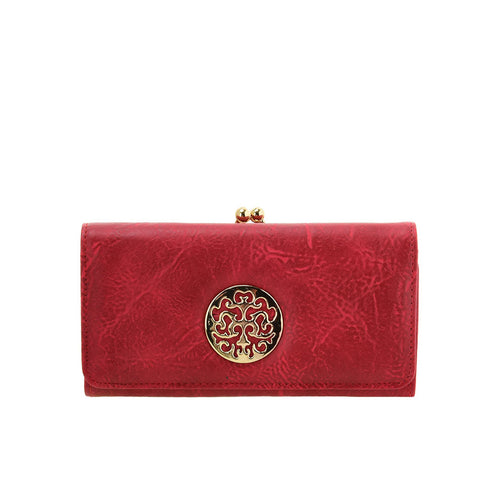 VKP1624 RED - Long Spotted Wallet With Hardware Decoration