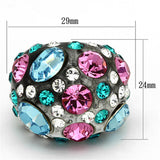 VL103 N/A Resin Ring with Top Grade Crystal in Multi Color