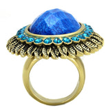 VL121 IP Gold(Ion Plating) Stainless Steel Ring with Synthetic in Sea Blue