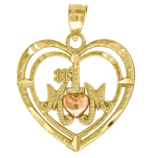 10k Gold Two-tone Dc Womens No.1 Mom Heart Height 22.9mm X Width 18.4mm Mom Charm Pendant