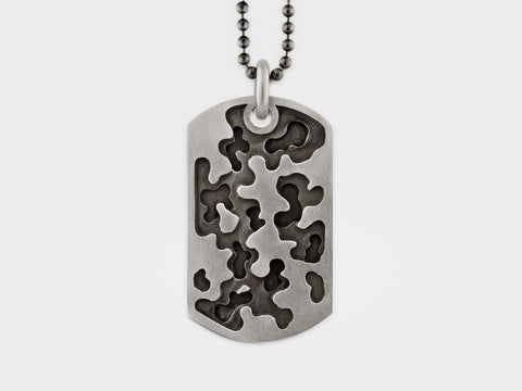 Camouflage Dog Tag Necklace in Sterling Silver