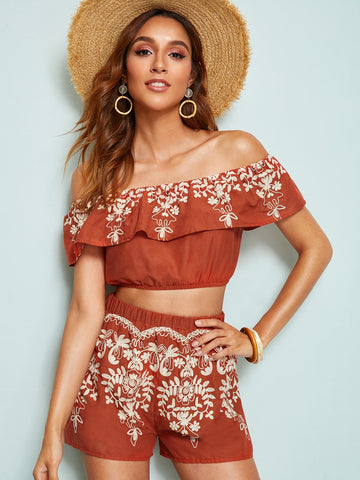 Embroidered Foldover Front Bardot Top and Shorts Set