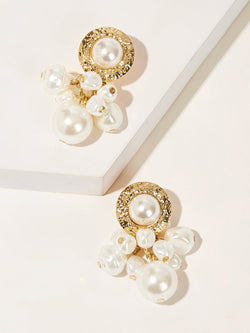 Textured Detail Faux Pearl Drop Earrings 1pair