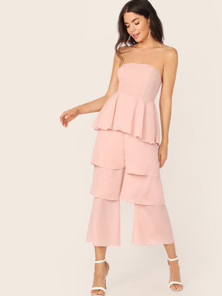 Peplum Layered Shirred Back Jumpsuit