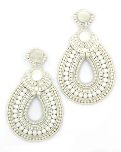 Hoop teardrop beaded earrings in white color