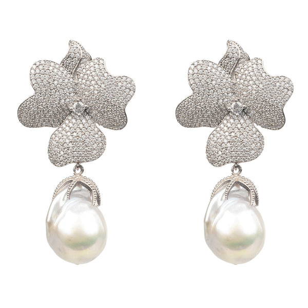 White Flower Baroque Pearl Drop Earring Silver