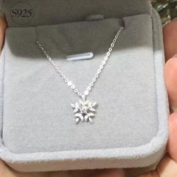 Sterling Silver Cubic Zirconia Snowflake Necklaces Pendant