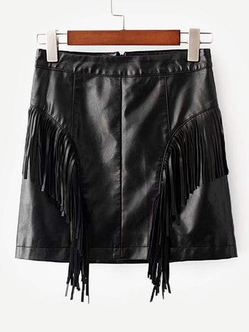 Fringe Trim PU Skirt