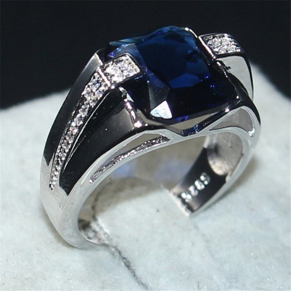 choucong 925 Sterling Silver  6CT square Blue 5a Zircon Stone