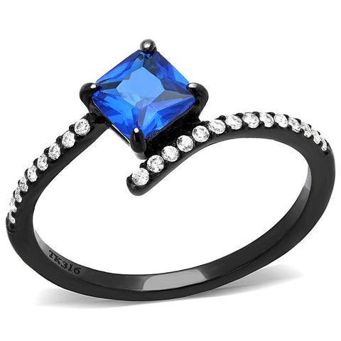 DA016 IP Black(Ion Plating) Stainless Steel Ring with Synthetic in London Blue