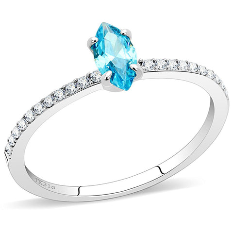DA034 High polished (no plating) Stainless Steel Ring with AAA Grade CZ in Sea Blue