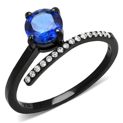 DA038 IP Black(Ion Plating) Stainless Steel Ring with Synthetic in London Blue
