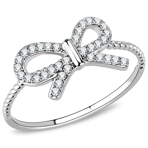 DA057 High polished (no plating) Stainless Steel Ring with AAA Grade CZ in Clear
