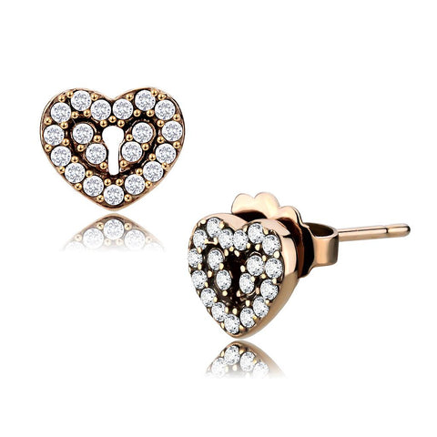 DA085 IP Rose Gold(Ion Plating) Stainless Steel Earrings with AAA Grade CZ in Clear