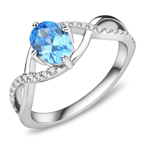 DA117 High polished (no plating) Stainless Steel Ring with AAA Grade CZ in Sea Blue