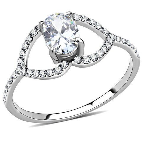DA137 High polished (no plating) Stainless Steel Ring with AAA Grade CZ in Clear