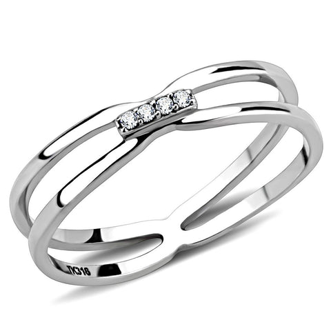 DA160 High polished (no plating) Stainless Steel Ring with AAA Grade CZ in Clear