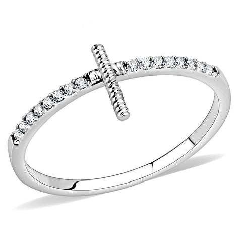 DA161 High polished (no plating) Stainless Steel Ring with AAA Grade CZ in Clear