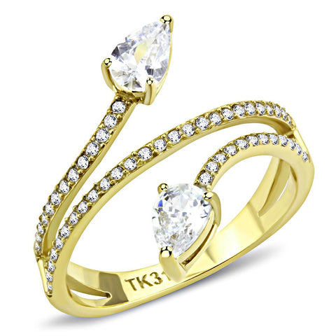 DA171 IP Gold(Ion Plating) Stainless Steel Ring with AAA Grade CZ in Clear