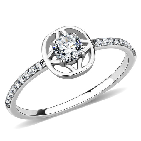 DA238 High polished (no plating) Stainless Steel Ring with AAA Grade CZ in Clear