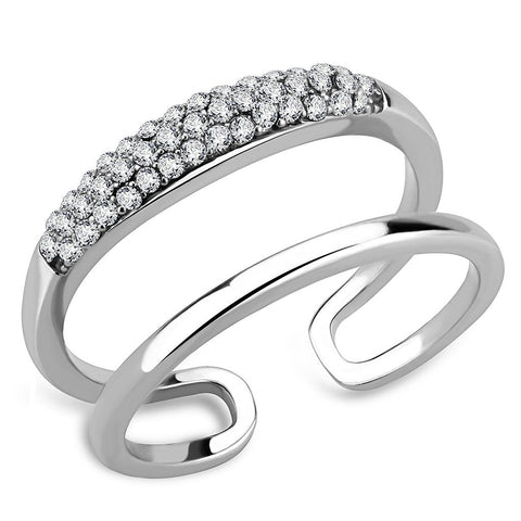 DA247 High polished (no plating) Stainless Steel Ring with AAA Grade CZ in Clear