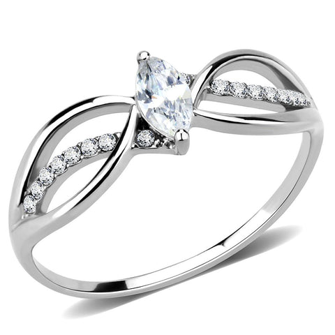 DA262 High polished (no plating) Stainless Steel Ring with AAA Grade CZ in Clear