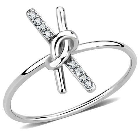 DA313 No Plating Stainless Steel Ring with AAA Grade CZ in Clear