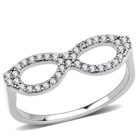 DA315 No Plating Stainless Steel Ring with AAA Grade CZ in Clear