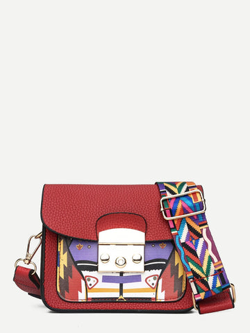 Geometric Print Crossbody Bag