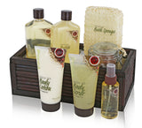 Pinkleaf Green Tea Argan Oil Bamboo Spa Bath Gift Set, Spa Basket,