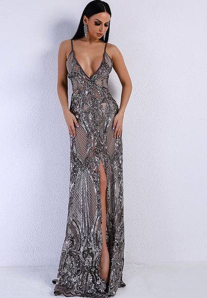 Silver Sequin Evening Gown