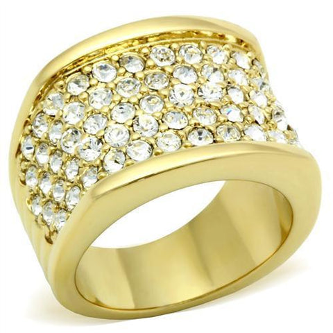 GL006 IP Gold(Ion Plating) Brass Ring with Top Grade Crystal in Clear