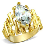 GL080 IP Gold(Ion Plating) Brass Ring with AAA Grade CZ in Clear