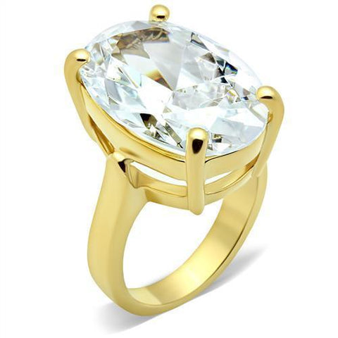 GL083 IP Gold(Ion Plating) Brass Ring with AAA Grade CZ in Clear
