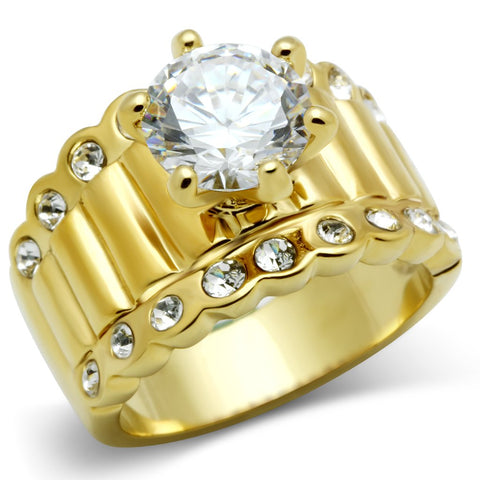 GL095 IP Gold(Ion Plating) Brass Ring with AAA Grade CZ in Clear