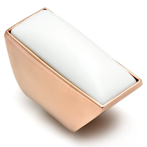 GL164 IP Rose Gold(Ion Plating) Brass Ring with Synthetic in White