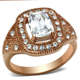 GL215 IP Rose Gold(Ion Plating) Brass Ring with AAA Grade CZ in Clear
