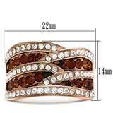GL217 IP Rose Gold(Ion Plating) Brass Ring with Top Grade Crystal in Smoked Quartz