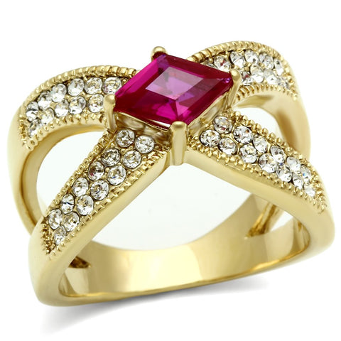 GL298 IP Gold(Ion Plating) Brass Ring with AAA Grade CZ in Ruby