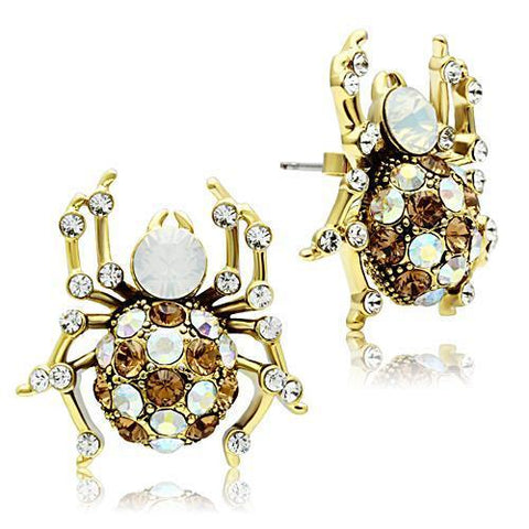 GL347 IP Gold(Ion Plating) Brass Earrings with Top Grade Crystal in Multi Color