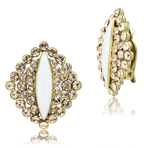 GL350 IP Gold(Ion Plating) Brass Earrings with Top Grade Crystal in Champagne