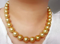 gorgeous 12-15mm south sea round gold pearl necklace 18inch 14k