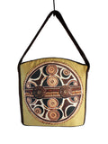 Big mustard boho art-bag, Ethnic fashion zipper hobo bag