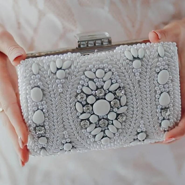 Modern Beaded Bridal Wedding Clutch