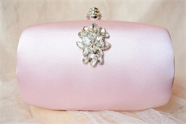 Pink Rhinestone and Crystal Clutch Hand Bag