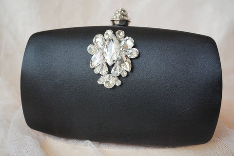 Black Satin Rhinestone ,Crystal Clutch,Hard Case
